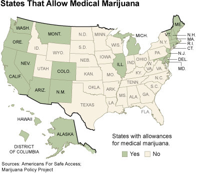 Medical marijuana by state via The New York Times