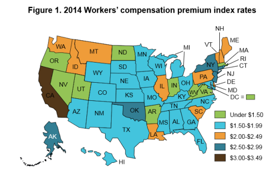 Map displaying each state's premium category (Oregon Premium Study 2014)
