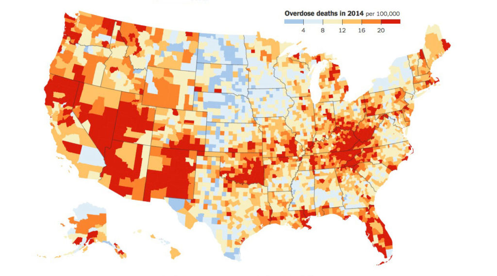 CDC Map of Opioid Overdose Deaths, 2014 Data